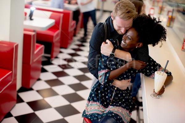 çift bar lokanta görmek kadın Stok fotoğraf © boggy