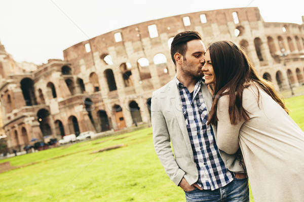 Seven çift colosseum Roma İtalya Stok fotoğraf © boggy
