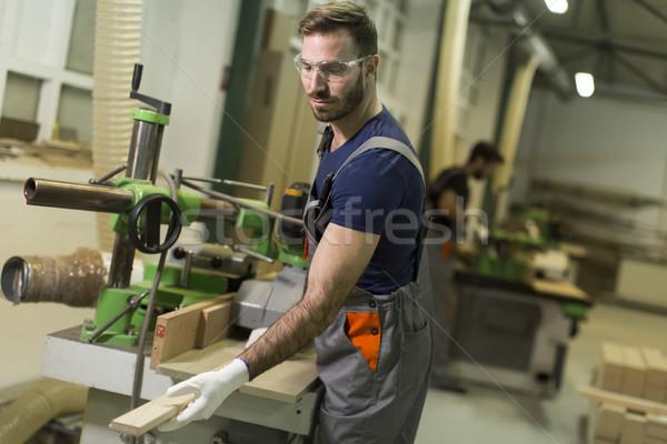 Moço fábrica produção mobiliário homem trabalhar Foto stock © boggy