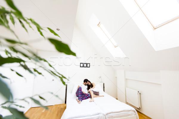 élégant lit vue femme amour Photo stock © boggy