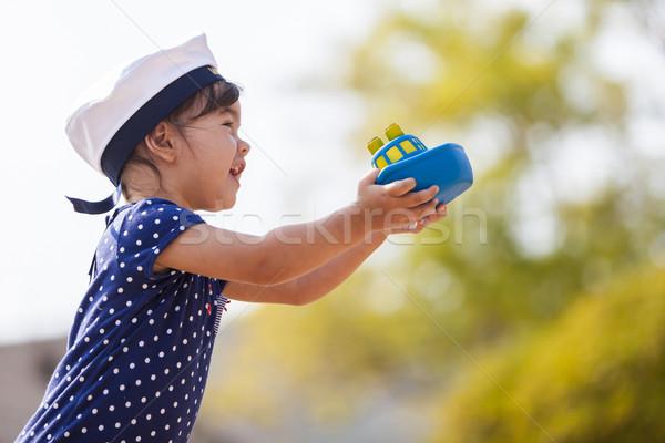 Pequeno marinheiro menina criança navio serviço Foto stock © boggy
