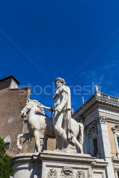 Statue of Castor at Piazza del Campidoglio in Rome Stock photo © boggy