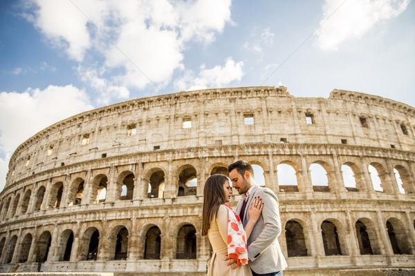 счастливым пару Колизей Рим Италия Сток-фото © boggy