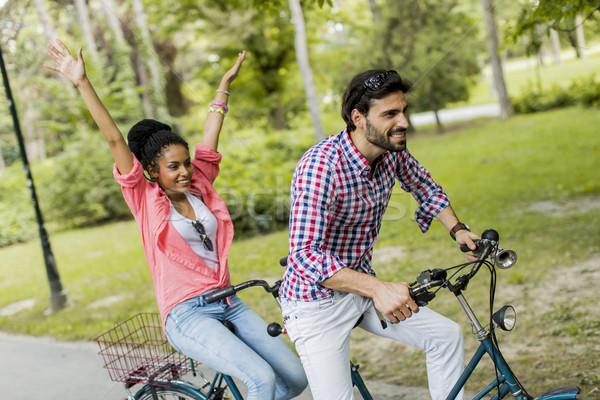 верховая езда тандем велосипед дерево человека Сток-фото © boggy