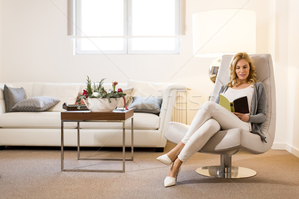 Young woman reading a book and sitting on comfortable chair at h Stock photo © boggy