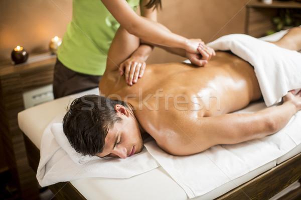 Stockfoto: Jonge · man · massage · spa · man · lichaam · schoonheid