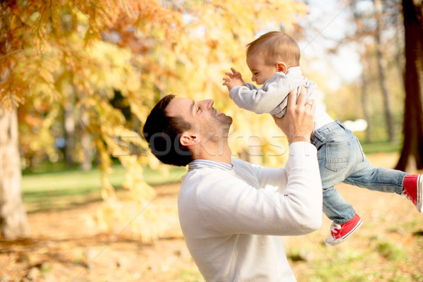 Young father and baby boy in autumn park Stock photo © boggy