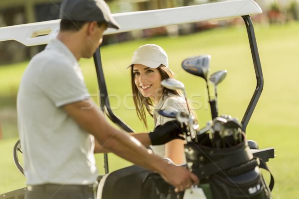 Stok fotoğraf: Golf · araba · kadın · çift · spor