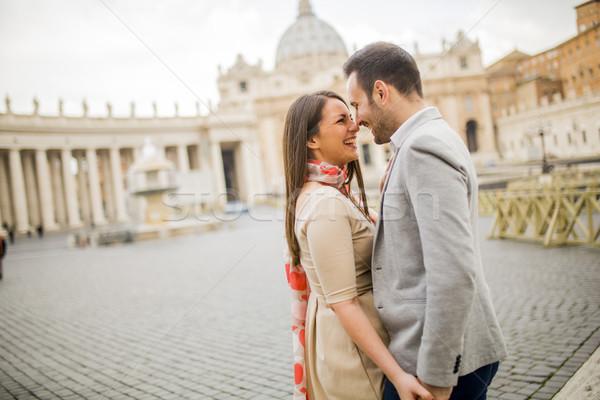 Szerető pár tér Vatikán Olaszország fiatal Stock fotó © boggy