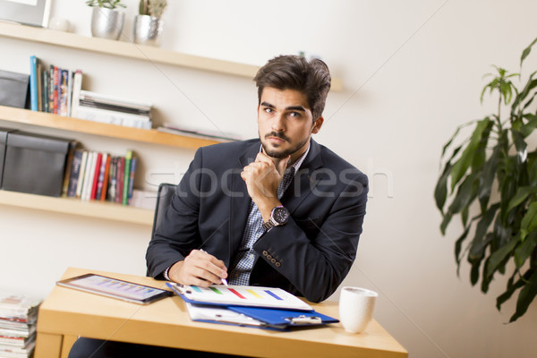 Portrait of man working from home Stock photo © boggy