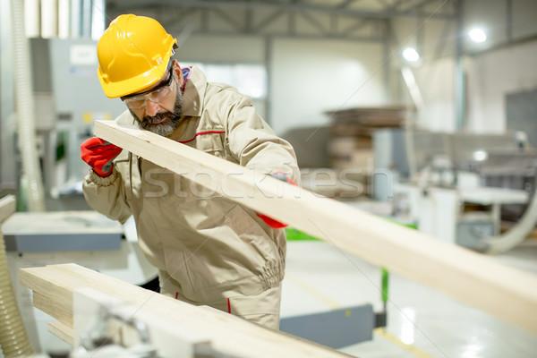 Jóképű érett férfi dolgozik bútor gyár modern Stock fotó © boggy