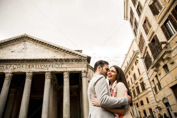Szerető pár Róma Olaszország kilátás szeretet Stock fotó © boggy