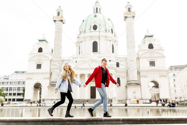 Young couple walking holding hands around Vienna Stock photo © boggy