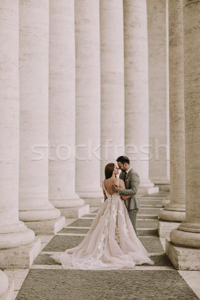 Esküvő pár Vatikán Róma Olaszország fiatal Stock fotó © boggy
