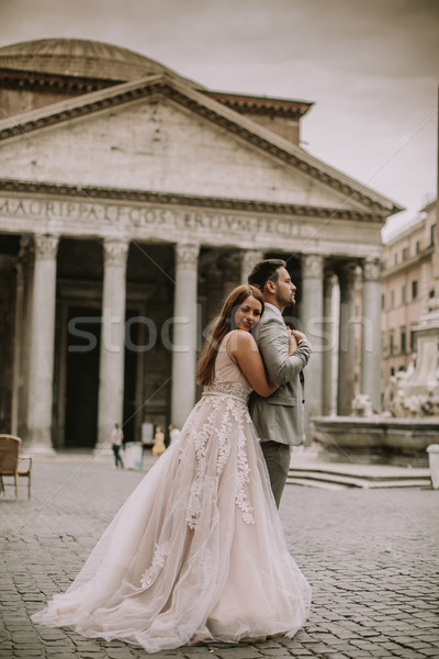 Young wedding couple by Pantheon in Rome, Italy Stock photo © boggy