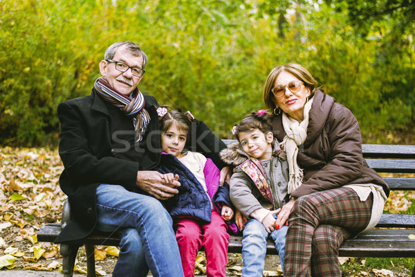 Grands-parents automne parc deux s'asseoir Photo stock © boggy