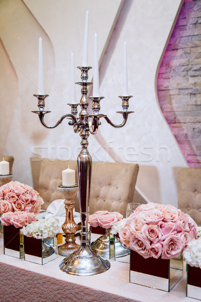 Luxuriously decorated wedding table Stock photo © boggy