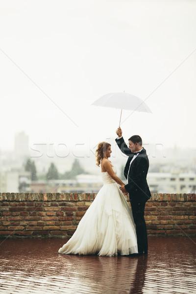 Boda Pareja jóvenes recién casado aire libre ceremonia Foto stock © boggy