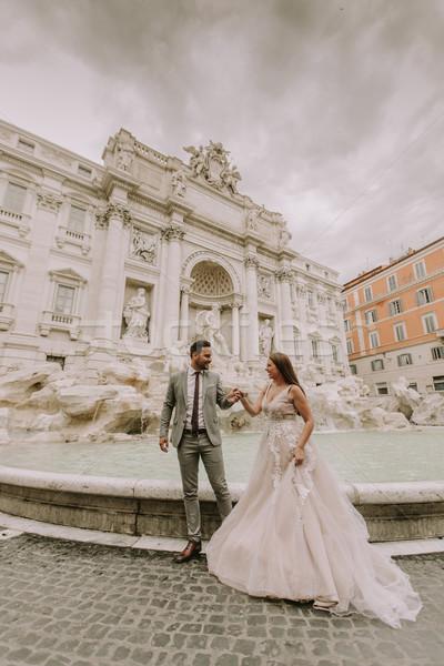 小さな 結婚式 カップル トレビの泉 ローマ イタリア ストックフォト © boggy