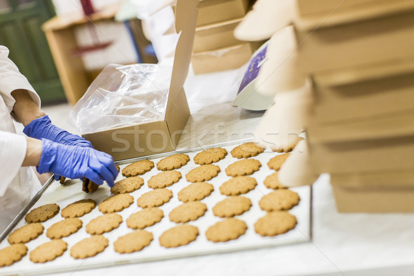 Cookies fabriek vak industrie plaat industriële Stockfoto © boggy