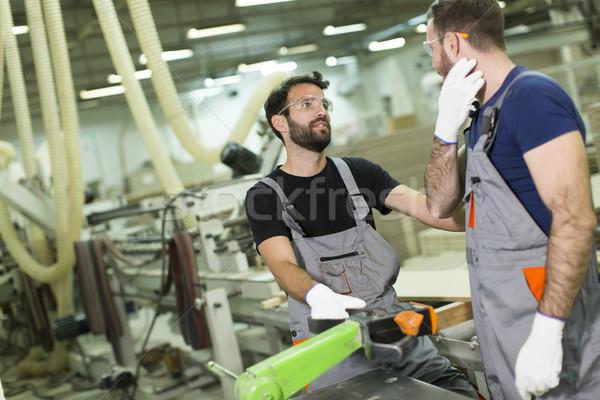 Stockfoto: Twee · knap · jonge · mannen · werken · timmerhout · workshop