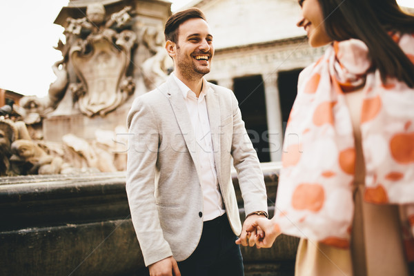Stock photo: Loving couple in front of the Pantheon in Rome