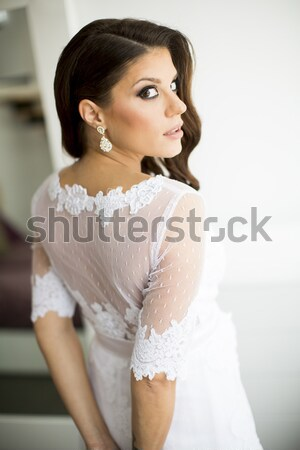Bride in white dress Stock photo © boggy