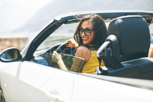 Bastante blanco cabriolé coche gafas de sol Foto stock © boggy