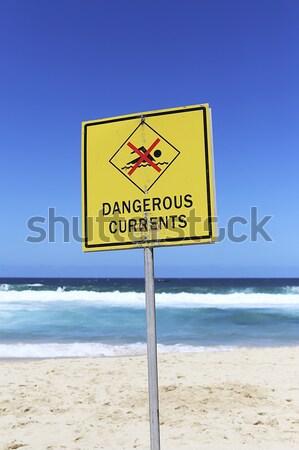 Tehlikeli imzalamak plaj su doğa Stok fotoğraf © boggy