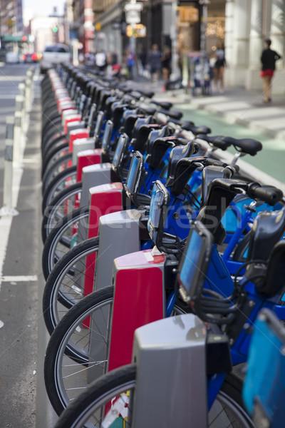 Publicznych rowery widoku Manhattan Nowy Jork miasta Zdjęcia stock © boggy