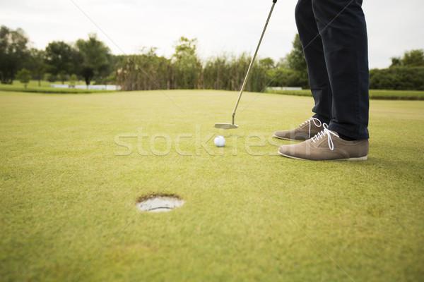 Moço jogar golfe campo de golfe grama verde Foto stock © boggy