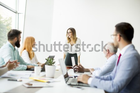 Multiracial young business people working in office Stock photo © boggy