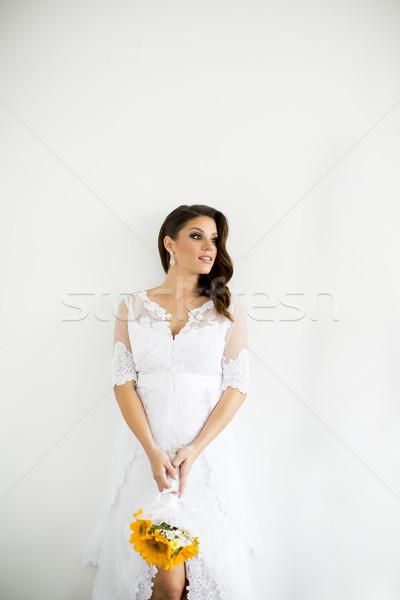 беременна невеста букет подсолнухи женщину цветок Сток-фото © boggy