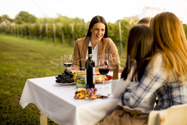 Young people sitting by the table and drinking red wine in the v Stock photo © boggy