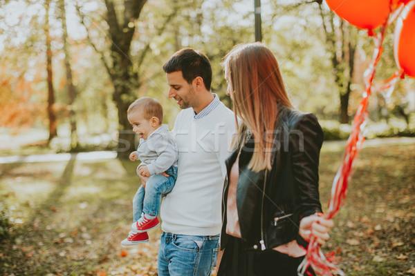 Heureux jeunes parents bébé garçon automne Photo stock © boggy