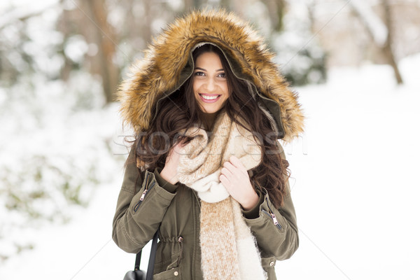 Pretty young woman in the park on the winter day Stock photo © boggy