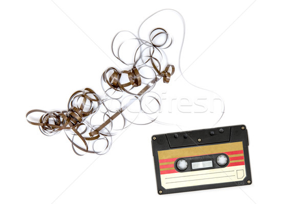 Old cassette tapes with copy space on white background Stock photo © boggy