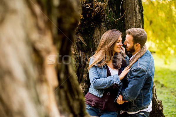 Affectueux couple automne parc tendresse femme Photo stock © boggy