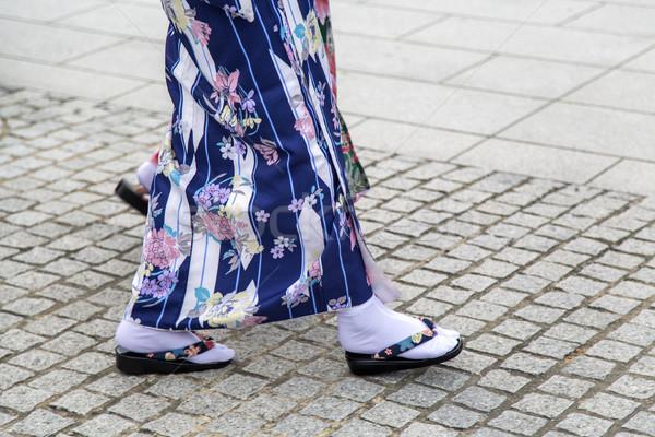 Hagyományos szandál szentély Kiotó Japán nő Stock fotó © boggy