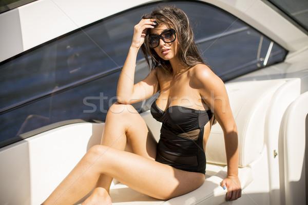 かなり 若い女性 リラックス ヨット 女性 ストックフォト © boggy