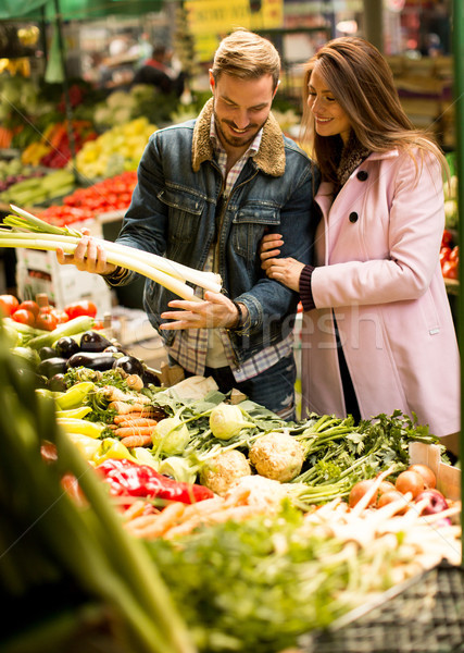 Stock photo: Couple at food market