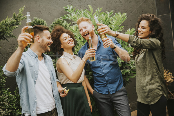 Friends having outdoor garden party toast with alcoholic cider d Stock photo © boggy