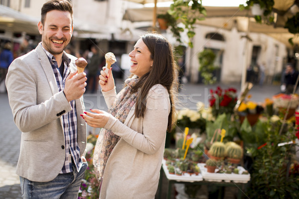 Loving couple having an ice cream in Rome, Italy Stock photo © boggy