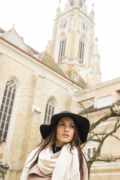 Portrait of a beautiful young woman with hat Stock photo © boggy
