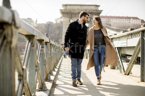 Loving couple on Chain bridge, Budapest Stock photo © boggy
