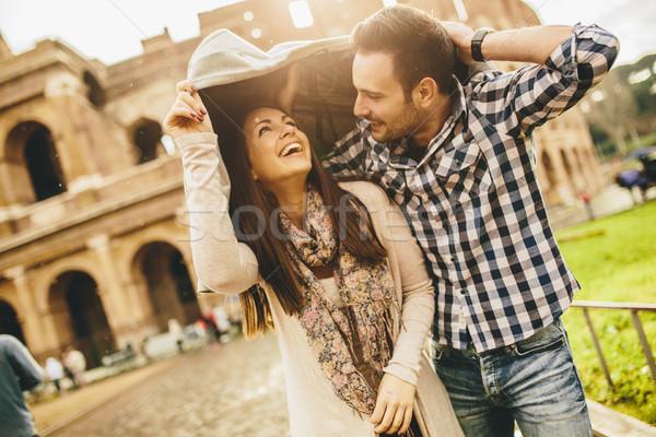 Kochający para Rzym kobieta człowiek Zdjęcia stock © boggy