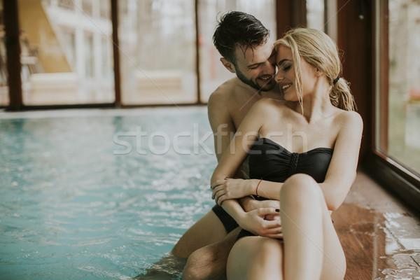 愛する カップル リラックス スパ プール センター ストックフォト © boggy