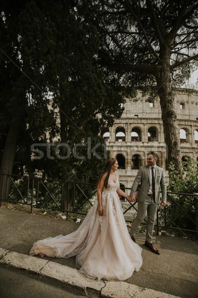 молодые свадьба пару Колизей Рим Италия Сток-фото © boggy