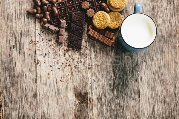 Chocolade biscuits melk tabel Stockfoto © boggy