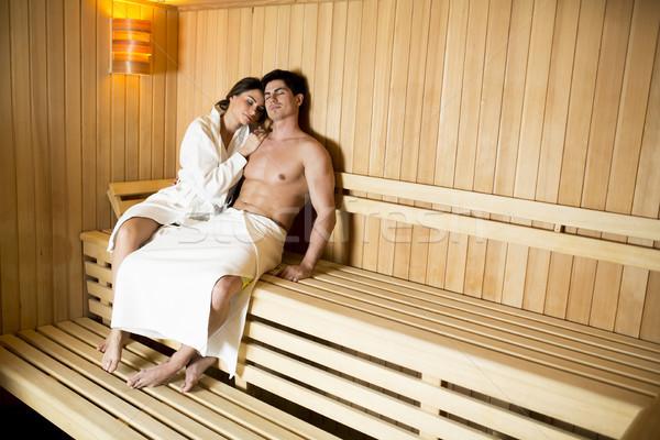 Sauna yakışıklı rahatlatıcı dinlenmek spa Stok fotoğraf © boggy